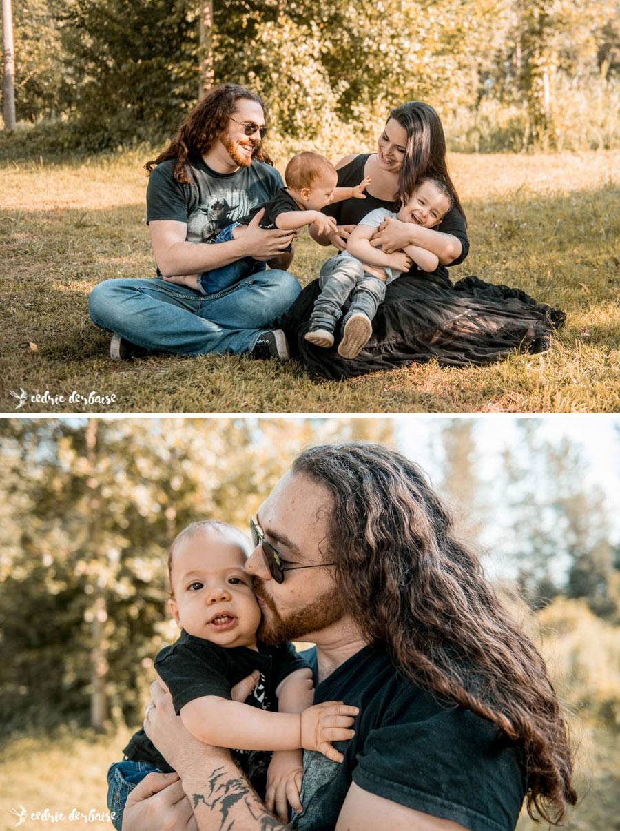 Séance photo de famille en extérieur