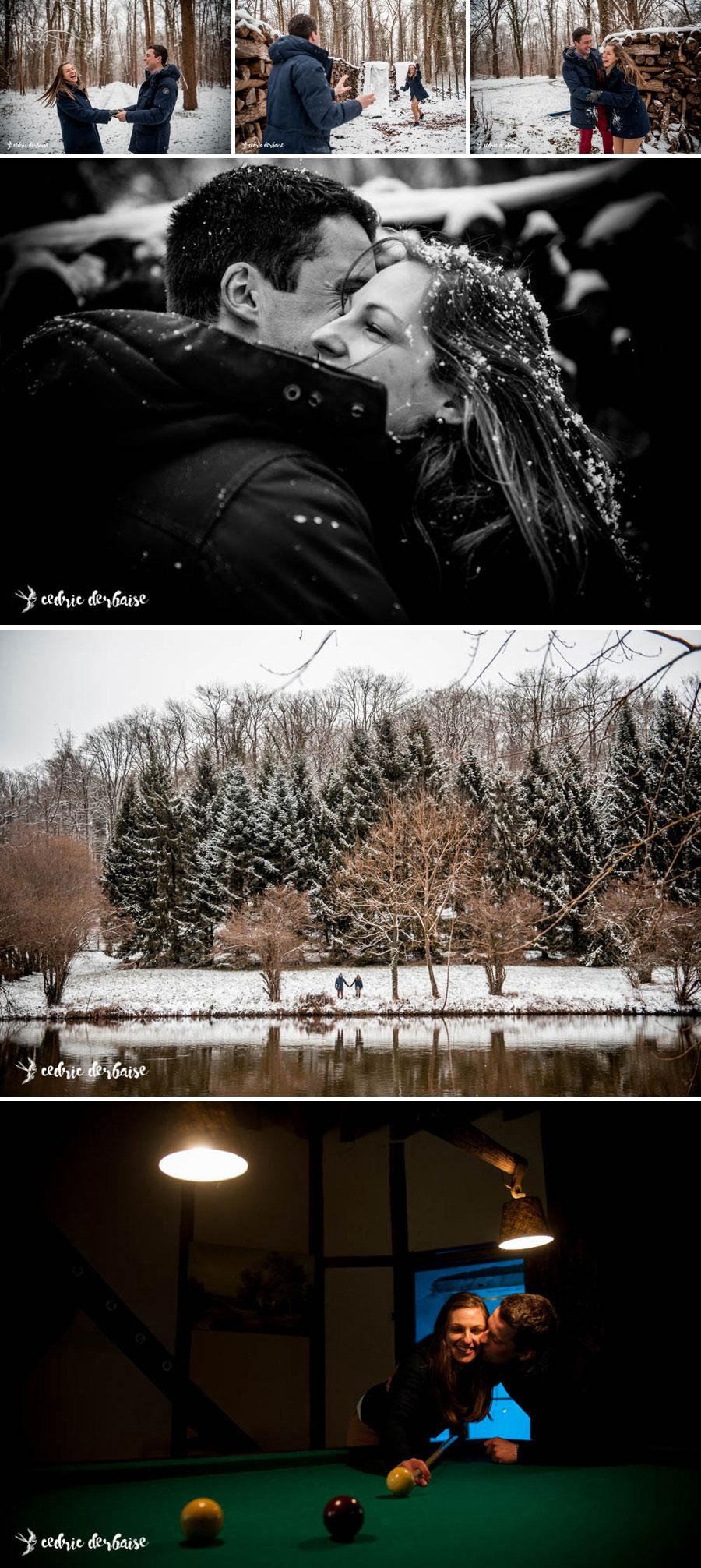 Photographe hauts de france couple neige